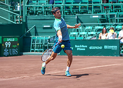 April 11, 2018 - Houston, TX, U.S. - HOUSTON, TX - APRIL 11:  Nicolas Kicker of Argentina returns the ball during the second round of the Men's Clay Court Championships on April 11, 2018 at River Oaks Country Club in Houston, Texas.  (Photo by Leslie Plaza Johnson/Icon Sportswire) (Credit Image: © Leslie Plaza Johnson/Icon SMI via ZUMA Press)