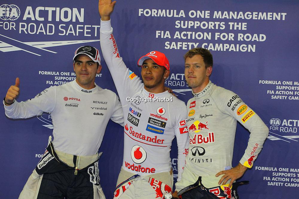 &copy; Photo4 / LaPresse<br /> 22/9/2012 Singapore-Singapore<br /> Singapore Grand Prix, Singapore 20 - 23 September 2012<br /> In the pic: Pole Celebration: 1st Lewis Hamilton (GBR) McLaren Mercedes MP4-27, 2nd Pastor Maldonado (VEN), Williams F1 Team FW34, 3rd Sebastian Vettel (GER) Red Bull Racing RB8