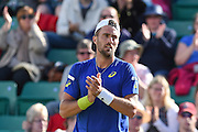 Steve Johnson (USA) wins both first and second set to make his way through to the finals of the Aegon Open at the Nottingham Tennis Centre, Nottingham, United Kingdom on 24 June 2016. Photo by Martin Cole.