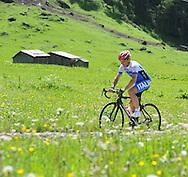 Il CT della Nazionale Italiana per professionisti di Ciclismo Davide Cassani, in allenamento sul passo Fedai Marmolada, 21 giugno 2014 © foto Daniele Mosna