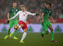 14.11.2016, Stadion Miejski, Wroclaw, POL, Testspiel, Polen vs Slowenien, im Bild LUKASZ TEODORCZYK RENE KRHIN // during the international friendly football match between Poland vs Slovenia at the Stadion Miejski in Wroclaw, Poland on 2016/11/14. EXPA Pictures &copy; 2016, PhotoCredit: EXPA/ Newspix/ Marek Biczyk<br /> <br /> *****ATTENTION - for AUT, SLO, CRO, SRB, BIH, MAZ, TUR, SUI, SWE, ITA only*****