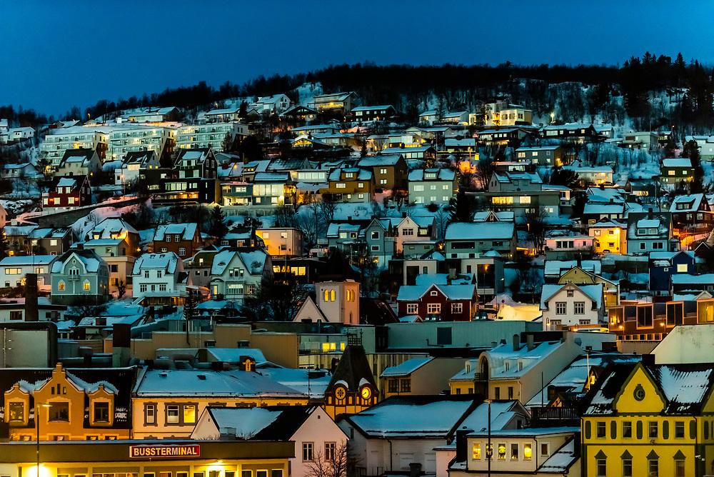 Harstad, Arctic, Northern Norway in predawn light in winter.