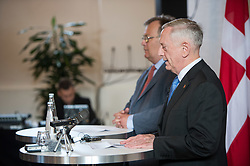 Secretary of Defense Jim Mattis and Danish Minister of Defence Claus Hjort Frederiksen host a press brief at Eigtveds Pakhus in Copenhagen, Denmark, May 9, 2017. (DOD photo by U.S. Air Force Staff Sgt. Jette Carr)