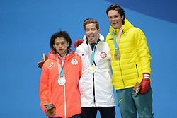February 14, 2018 - Pyeongchang, South Korea - AYUMU HIRANO of Japan (left) , SHAUN WHITE of the United States (center) and SCOTTY JAMES of Australia celebrates with their medals for the Men's Halfpipe snowboard event in the PyeongChang Olympic games. (Credit Image: © Christopher Levy via ZUMA Wire)