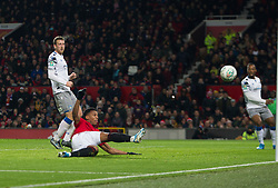 Anthony Martial of Manchester United scores his sides third goal - Mandatory by-line: Jack Phillips/JMP - 18/12/2019 - FOOTBALL - Old Trafford - Manchester, England - Manchester United v Colchester United - English League Cup Quarter Final