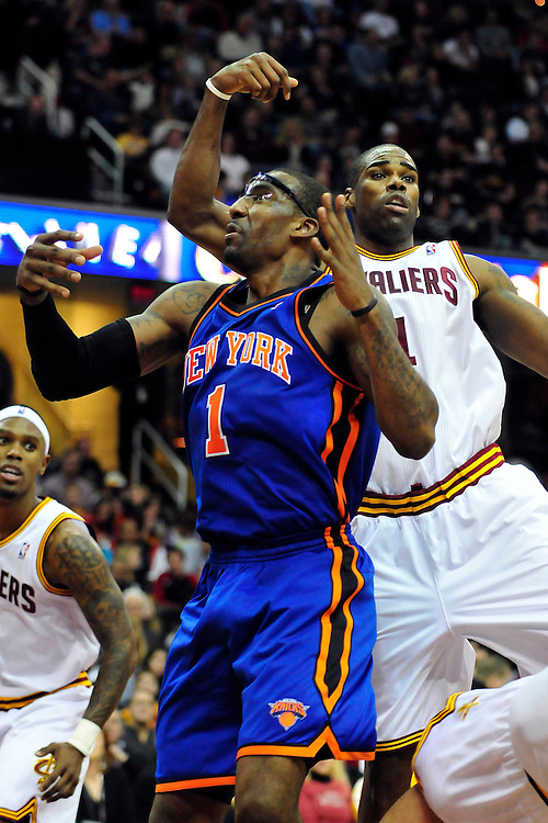 Dec. 18, 2010; Cleveland, OH, USA; New York Knicks power forward Amare Stoudemire (1) during a game against the Cleveland Cavaliers at Quicken Loans Arena. The Cavaliers beat the Knicks 109-102 in overtime. Mandatory Credit: Jason Miller-US PRESSWIRE