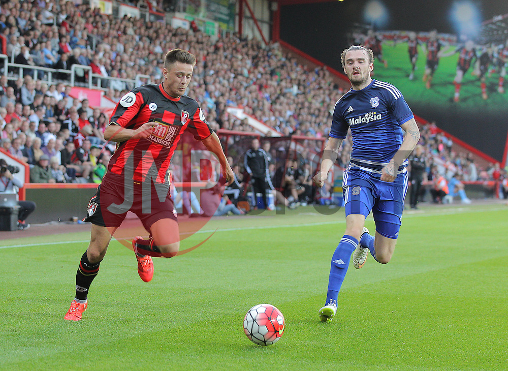 Harry Cornick of Bournemouth and Scott Malone of Cardiff City - Mandatory by-line: Paul Terry/JMP - 07966386802 - 31/07/2015 - SPORT - FOOTBALL - Bournemouth,England - Dean Court - AFC Bournemouth v Cardiff City - Pre-Season Friendly