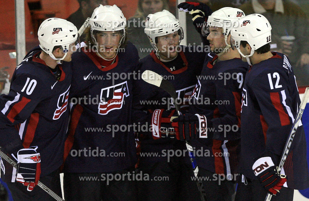 American team scored 5 times at ice-hockey match USA vs Slovenia at Preliminary Round (group B) of IIHF WC 2008 in Halifax, on May 04, 2008 in Metro Center, Halifax, Nova Scotia, Canada. (Photo by Vid Ponikvar / Sportal Images)