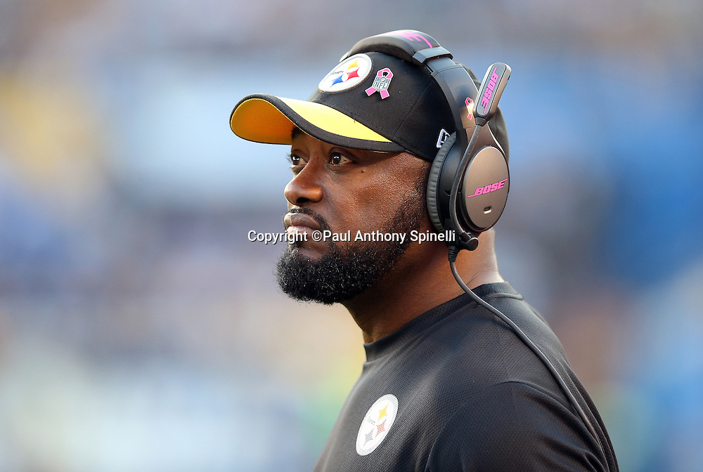 Pittsburgh Steelers head coach Mike Tomlin looks on from the sideline during the 2015 NFL week 5 regular season football game against the San Diego Chargers on Monday, Oct. 12, 2015 in San Diego. The Steelers won the game 24-20. (©Paul Anthony Spinelli)