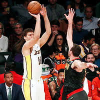 07 January 2018: Los Angeles Lakers center Brook Lopez (11) takes a jump shot during the LA Lakers 132-113 victory over the Atlanta Hawks, at the Staples Center, Los Angeles, California, USA.