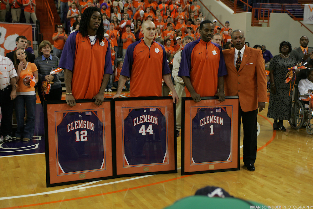 Mar 3, 2009; Clemson, SC, USA; Clemson Tigers forward Raymond Sykes (12) and Jesse Yanutola (44) and K.C. Rivers pose before the game against Virginia Cavaliers at Littlejohn Coliseum. Mandatory Credit: Brian Schneider-www.ebrianschneider.com