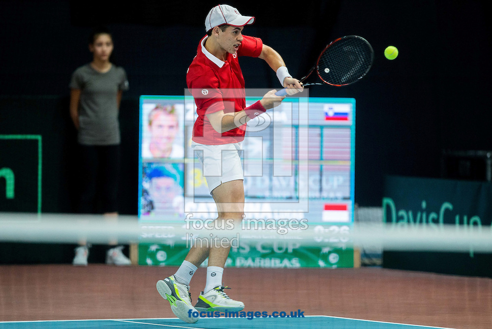 Lucas Catarina of Monaco during the first round Davis Cup match between Solvenia and Monaco  at Tennis Arena Tabor, Maribor, Slovenia.<br /> Picture by EXPA Pictures/Focus Images Ltd 07814482222<br /> 05/02/2017<br /> *** UK &amp; IRELAND ONLY ***<br /> <br /> EXPA-SLO-170205-0075.jpg