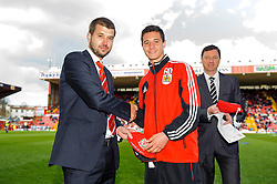 Managing director Jon Lansdown presents caps before the first half of the match - Photo mandatory by-line: Rogan Thomson/JMP - Tel: Mobile: 07966 386802 27/04/2013 - SPORT - FOOTBALL - Ashton Gate - Bristol. Bristol City v Huddersfield Town - npower Football League Championship.