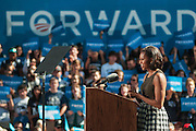 First Lady Michelle Obama speaks to grassroots supporters at the University of Nevada, Reno on Wednesday, Oct 3, 2012 in Reno, Nev. The first presidential debate is set for tonight at University of Denver in Denver, Colo.<br /> (AP Photo/Kevin Clifford)