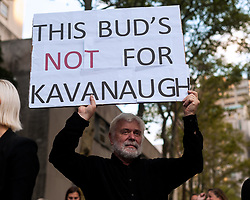 October 4, 2018 - Brooklyn, New York, United States - About 200 New Yorkers joined a nationwide held vigil protesting Supreme Court nominee Brad Kavanaugh on the steps of the Kings County Supreme Court in Brooklyn, tonight. (Credit Image: © Gabriele  Holtermann Gorden/Pacific Press via ZUMA Wire)