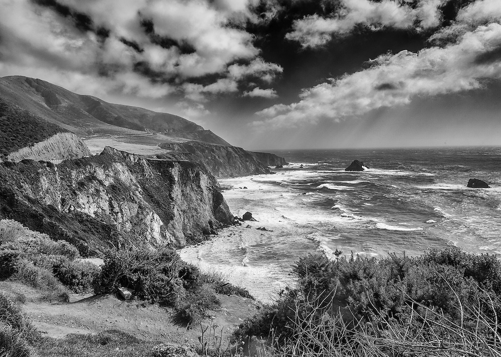 The central California Coastline near Big Sur.  This stretch of coastline was often photographed by Ansel Adams.