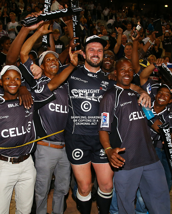 DURBAN, SOUTH AFRICA - JUNE 13: Bismarck du Plessis of the Cell C Sharks with guys from his farm during the Super Rugby match between Cell C Sharks and DHL Stormers at Growthpoint Kings Park on June 13, 2015 in Durban, South Africa. (Photo by Steve Haag/Gallo Images)
