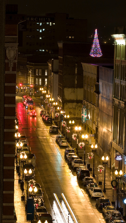 Christmas lights along Gay Street in Knoxville, Tennessee.