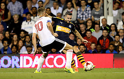 Paul Dummett of Newcastle United crosses the ball past Tom Cairney of Fulham - Mandatory by-line: Robbie Stephenson/JMP - 05/08/2016 - FOOTBALL - Craven Cottage - Fulham, England - Fulham v Newcastle United - Sky Bet Championship