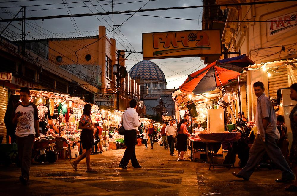 Street scene in downtown San Salvador, El Salvador.