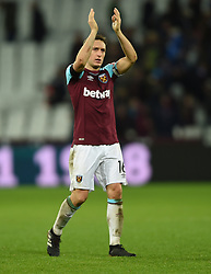 West Ham United's Mark Noble and applauds the fans at full time