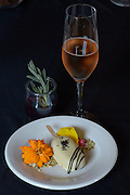 Chef Jack Stong of Chinook Winds Casino Resort dessert: celebration of huckleberries:  saguaro cactus syrup & huckleberry bar with Maysara Pinot noir Sparkling Rosé