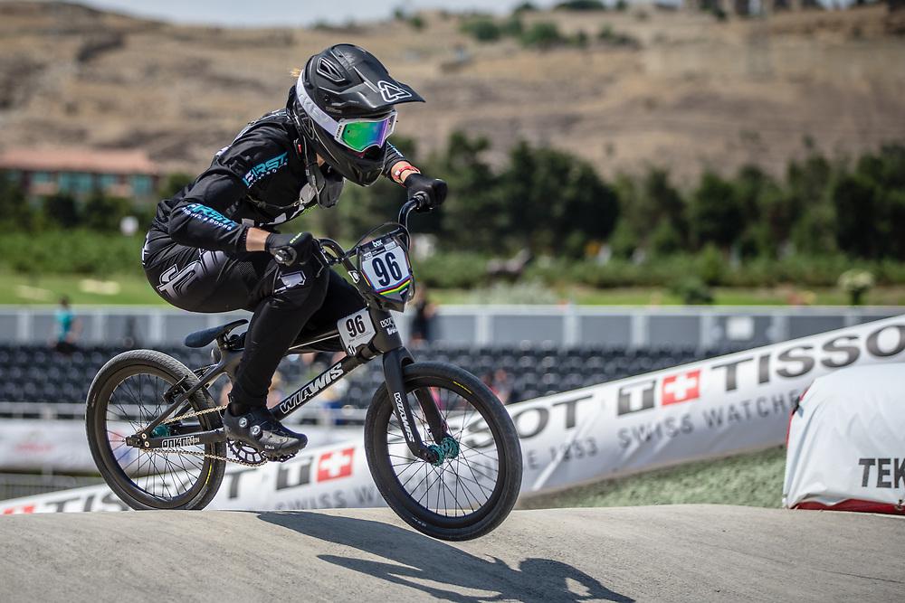 Women Elite #96 (WALKER Sarah) NZL at the 2018 UCI BMX World Championships in Baku, Azerbaijan.