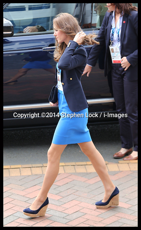 Image licensed to i-Images Picture Agency. 29/07/2014. Glasgow, United Kingdom. The  Duchess of Cambridge arriving at Hampden Park, Glasgow to watch the Athletics competition  on day six of the Commonwealth Games.  Picture by Stephen Lock / i-Images
