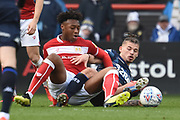Leeds United midfielder Kalvin Phillips (23) gets a tackle in during the EFL Sky Bet Championship match between Bristol City and Leeds United at Ashton Gate, Bristol, England on 9 March 2019.