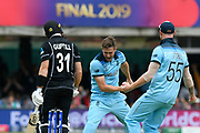 Wicket - Chris Woakes of England celebrates taking the wicket of Martin Guptill of New Zealand during the ICC Cricket World Cup 2019 Final match between New Zealand and England at Lord's Cricket Ground, St John's Wood, United Kingdom on 14 July 2019.