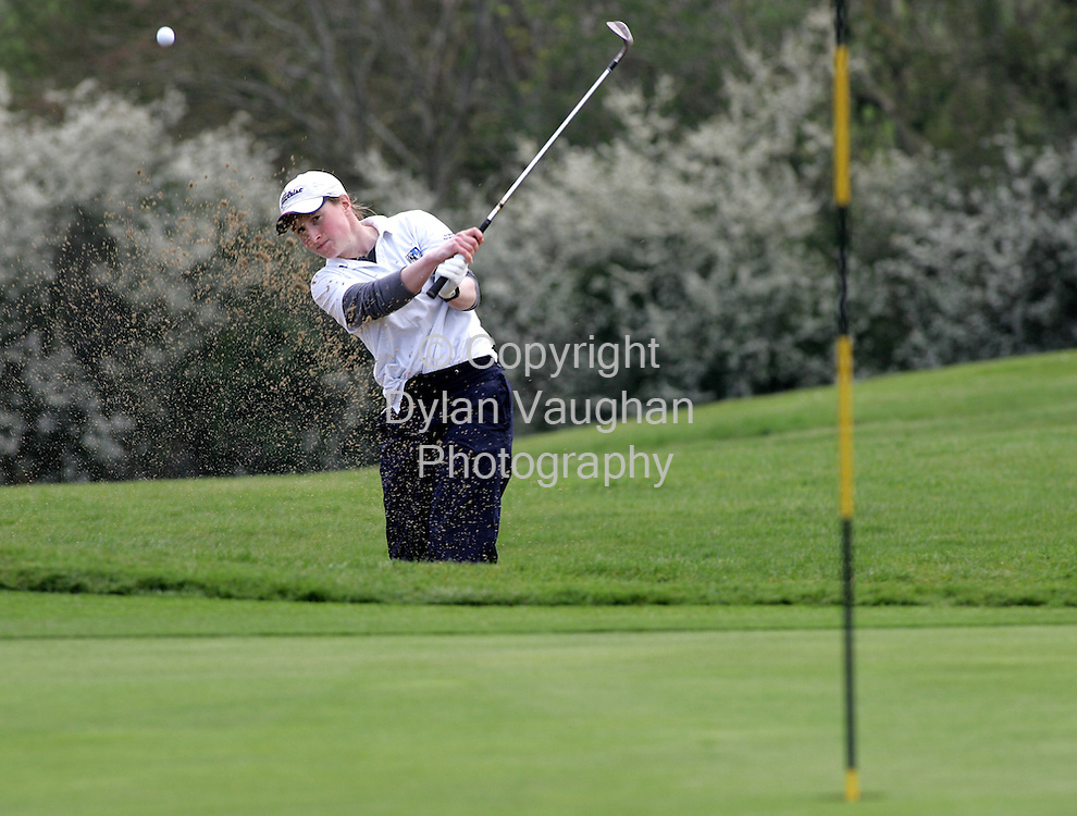 21/4/2006.Sarah Faller of Connaught takes her bunker shot at the 17th at the Girls Interprovincial Match at Kilkenny Golf Club yesterday..Picture Dylan Vaughan