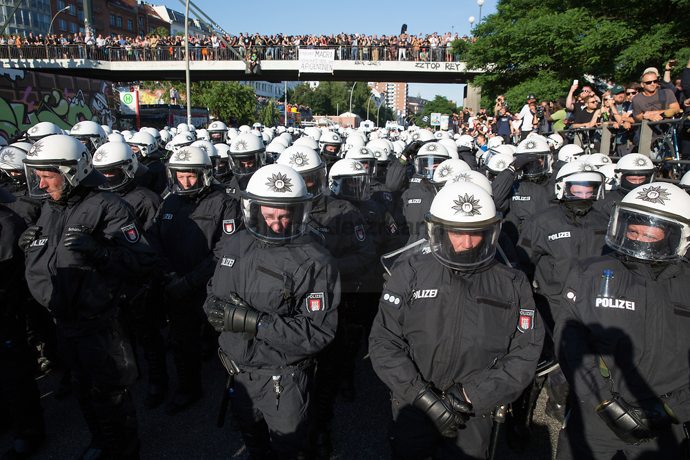 Hamburg, Germany - 06.07.2017<br /> <br /> <br /> <br /> Radical left wing Anti-G20 protest &rdquo;Welcome to Hell&rdquo; in Hamburg. After the police stops the protests and run into it clashes took place in Hamburg.<br /> <br /> <br /> <br /> Linksradikale Anti-G20 Demonstration &rdquo;Welcome to Hell&rdquo; in Hamburg. Nachdem die Polizei die Demonstration gestoppt hat und in die Demo rannte kam es zu Ausschreitungen in Hamburg<br /> <br /> <br /> <br /> Photo: Bjoern Kietzmann