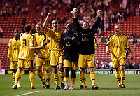 Photo: Jed Wee.<br /> Middlesbrough v Notts County. Carling Cup. 20/09/2006.<br /> <br /> Notts County celebrate.