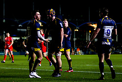 Nick David of Worcester Cavaliers celebrates with teammates after scoring a try - Mandatory by-line: Robbie Stephenson/JMP - 25/11/2019 - RUGBY - Sixways Stadium - Worcester, England - Worcester Cavaliers v Sale Jets - Premiership Rugby Shield