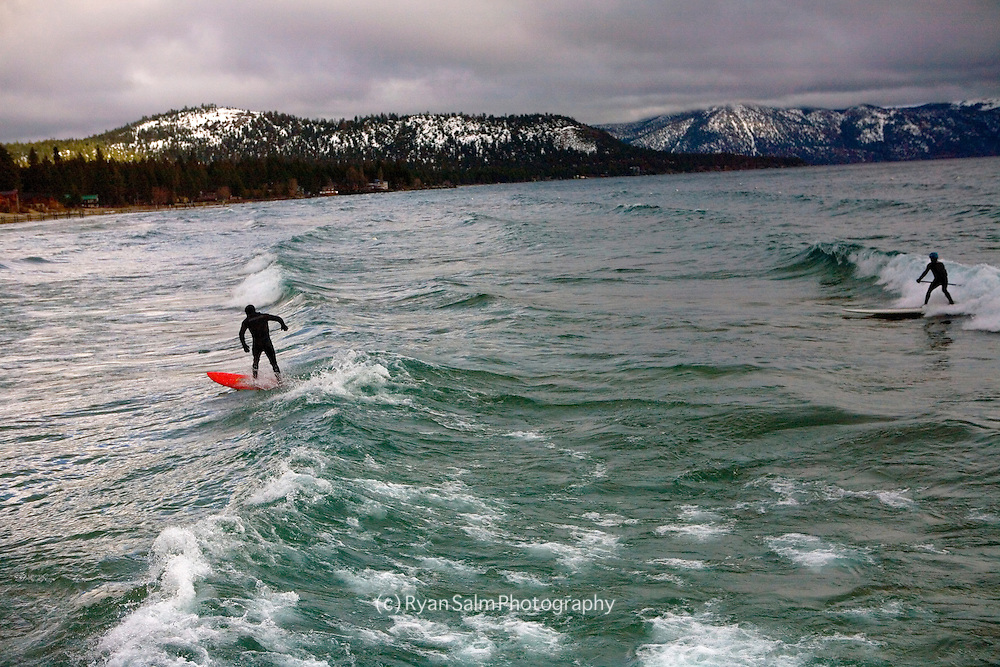 Tahoe ski legends, Scott and Rob Gaffney Winter surfing on Tahoe-