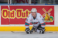 KELOWNA, CANADA - FEBRUARY 27: Tyson Baillie #24 of Kelowna Rockets stretches on the ice during warm up against the Spokane Chiefs on February 27, 2016 at Prospera Place in Kelowna, British Columbia, Canada.  (Photo by Marissa Baecker/Shoot the Breeze)  *** Local Caption *** Tyson Baillie;