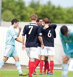 Falkirk's Kieran Duffie celebrates after scoring their first goal..Half time, Falkirk 1 v 0 Stirling Albion, Ramsdens Cup..© Michael Schofield.