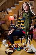 "Coco Simone Finken, a teenage vegetarian who lives in the city of Gatineau, Quebec, Canada with her day's worth of food. (From the book What I Eat: Around the World in 80 Diets.) The caloric value of her day's worth of food on a typical day in the month of October was 1900 kcals. She is 16, 5' 9.5"" and 130 pounds. The family doesn't own a car, buys organic food if it's not too expensive, and grows some of their own vegetables in their front yard. MODEL RELEASED"