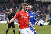 Gillingham defender Max Ehmer  during the Sky Bet League 1 match between Gillingham and Coventry City at the MEMS Priestfield Stadium, Gillingham, England on 2 April 2016. Photo by Martin Cole.