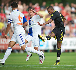 ZUG, SWITZERLAND - Wednesday, July 21, 2010: Liverpool's David Ngog in action against Grasshopper Club Zurich during the Reds' first preseason match of the 2010/2011 season at the Herti Stadium. (Pic by David Rawcliffe/Propaganda)