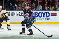 KELOWNA, CANADA - NOVEMBER 3: Nolan Foote #29 of the Kelowna Rockets blocks a pass against the Brandon Wheat Kings  on November 3, 2018 at Prospera Place in Kelowna, British Columbia, Canada.  (Photo by Marissa Baecker/Shoot the Breeze)