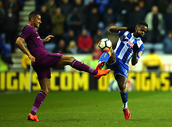 Gavin Massey of Wigan Athletic fouls Danilo of Manchester City - Mandatory by-line: Robbie Stephenson/JMP - 19/02/2018 - FOOTBALL - DW Stadium - Wigan, England - Wigan Athletic v Manchester City - Emirates FA Cup fifth round proper