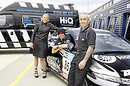 HiQ Easy Tyre helping Team Dynamics keep on the track at rockingham. Emma-Jane Kisby, with driver, Paul O'Neill. and fitter, Russ Hickford