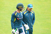 Head coach Justin Langer and Tim Paine of Australia talking on the Nursery Ground ahead of the International Test Match 2019 match between England and Australia at Lord's Cricket Ground, St John's Wood, United Kingdom on 18 August 2019.