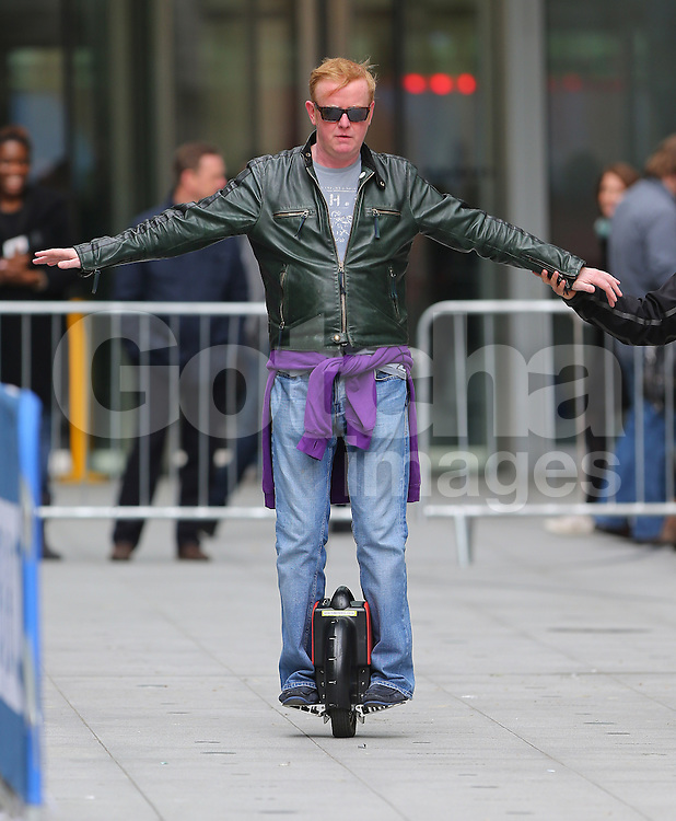 The One Show presenters Alex Jones and Chris Evans test drive a One Wheeled Segway Scooter at the BBC studios in London, UK. 02/05/2014<br />BYLINE MUST READ : JAMESY/GOTCHA IMAGES<br /><br />Copyright by &copy; Gotcha Images Ltd. All rights reserved.<br />Usage of this image is conditional upon the acceptance <br />of Gotcha Images Ltd, terms and conditions available at<br />www.gotchaimages.com