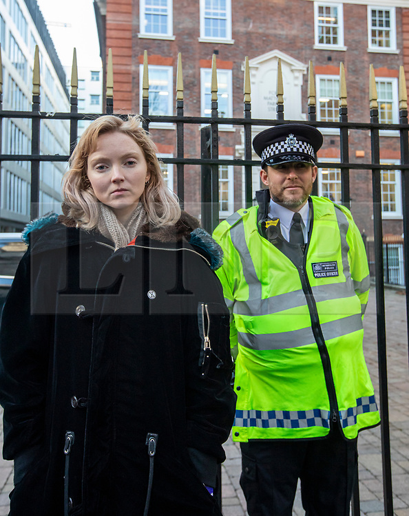 © Licensed to London News Pictures. 09/12/2019. London, UK. Lily Cole actress and model joins the Extinction Rebellion Hunger strike outside Conservative party HQ in Westminster as they continue their Twelve Days of Crisis a nonviolent direct action from 30 November until the eve of the Election Day on 12th December .Photo credit: Alex Lentati/LNP