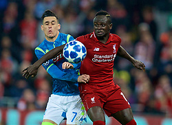 LIVERPOOL, ENGLAND - Tuesday, December 11, 2018: Liverpool's Sadio Mane (R) and Napoli's José Callejón during the UEFA Champions League Group C match between Liverpool FC and SSC Napoli at Anfield. (Pic by David Rawcliffe/Propaganda)