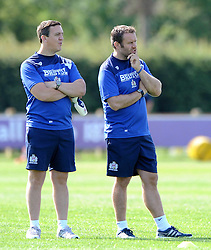 Academy Coach, Mark Irish (right) overlooks Bristol Rugby first team training with Mike Hall  - Photo mandatory by-line: Dougie Allward/JMP - Mobile: 07966 386802 - 03/07/2015 - SPORT - Rugby - Bristol - Bristol Rugby Training Ground - Bristol Rugby Pre-Season Training