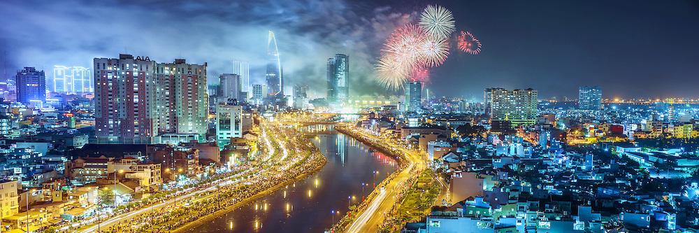Vietnam images-cityscape- SaiGon city -New year