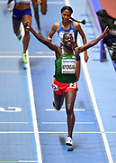 Francine Niyonsaba (BDI) celebrates as she crosses the finish line to win the Women's 800m Final in a time of 1.58.31 during the final session of the IAAF World Indoor Championships at Arena Birmingham in Birmingham, United Kingdom on Saturday, Mar 2, 2018. (Steve Flynn/Image of Sport)